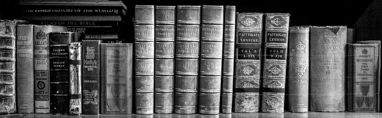 Bookshelf, Tyntesfield, Bristol National Trust Black And White Monochrome Tyntesfield