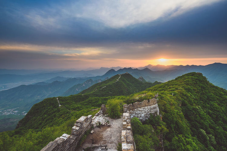 China Wall, sunset time ASIA Great Wall Of China Huairou Architecture Beauty In Nature China Wall Cloud - Sky Day Mountain Mountain Range Nature No People Outdoors Scenics Sky Sunset Tranquil Scene Tranquility Travel Destination