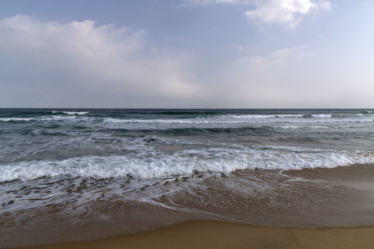 Hwajinpo Beach in Goseong, Gangwondo, South Korea Beach Land Water Beauty In Nature Outdoors Hwajinpo Beach Winter Beach Winter Sea Tranquil Scene Naturelovers Natur's Beauty Sea Horizon Horizon Over Water Sky Scenics - Nature Motion Wave Sport Aquatic Sport Cloud - Sky Surfing Sand Tranquility