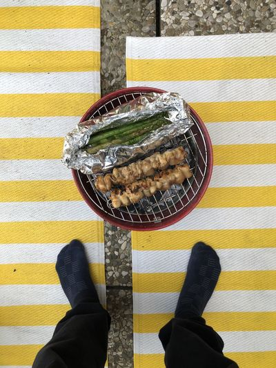Low section of person on barbecue grill