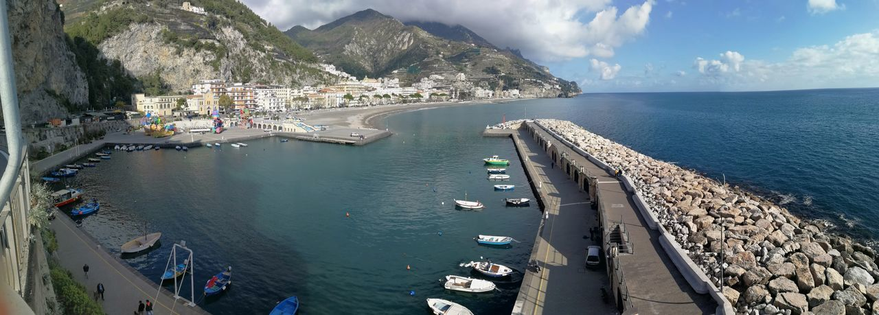 Water Sea Mountain Nautical Vessel Architecture Built Structure Transportation Day Sky Nature Cloud - Sky Mode Of Transportation Beauty In Nature Building Exterior Scenics - Nature High Angle View Outdoors Harbor No People Yacht Cruise Ship Bay Amalfi Coast