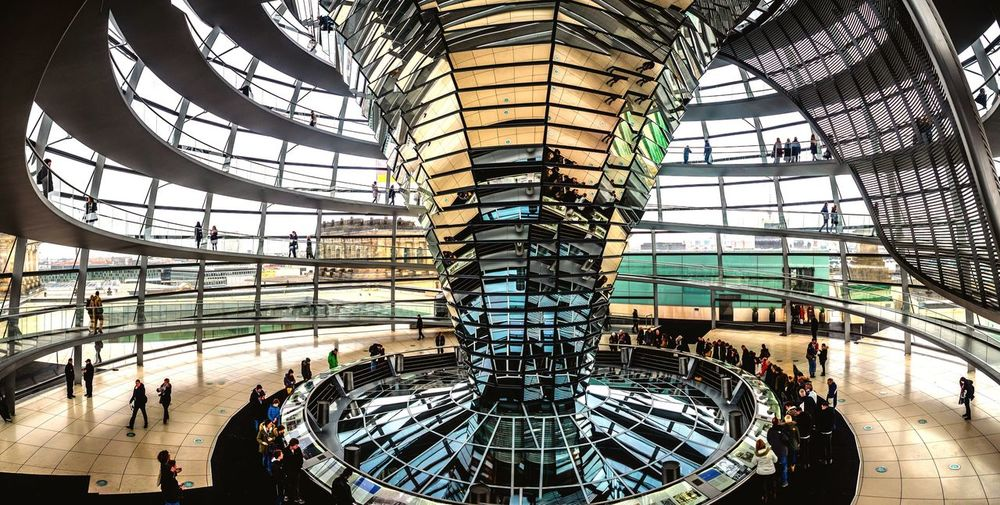 Architecture Built Structure Modern Indoors  Travel Destinations Low Angle View Large Group Of People Leisure Activity Greenhouse Iron - Metal Day Futuristic People Capture Berlin Berlin Germany Reichstag Dome Panorama Olympus Mirrorless The Architect - 2017 EyeEm Awards