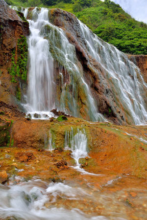Golden Waterfall is located in Jinguashi, New Taipei City, Taiwan, a scenic tourist area. Beautiful Broad Cool Golden Waterfall Jinguashi Taiwan Beauty In Nature Clear Water Comfortable Day Landscape Motion Mountain Nature New Taipei City No People Outdoors Scenics Travel Destinations Water Waterfall
