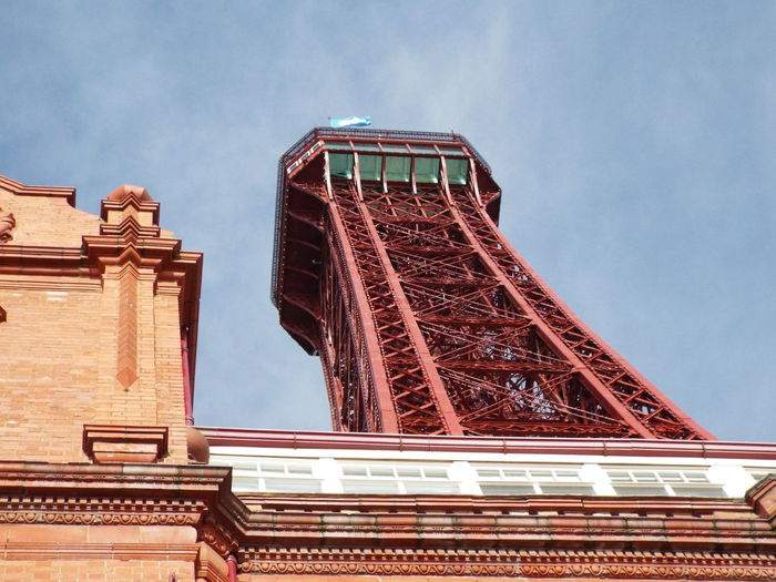 Historical Sights Tourism Tourist Attraction  Blackpool Tower Looking Up Blue Sky