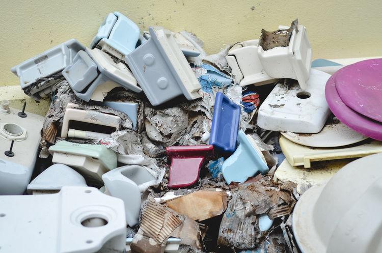 Flush Toilet Garbage Recycling Center Damaged Heap Metal Recycling