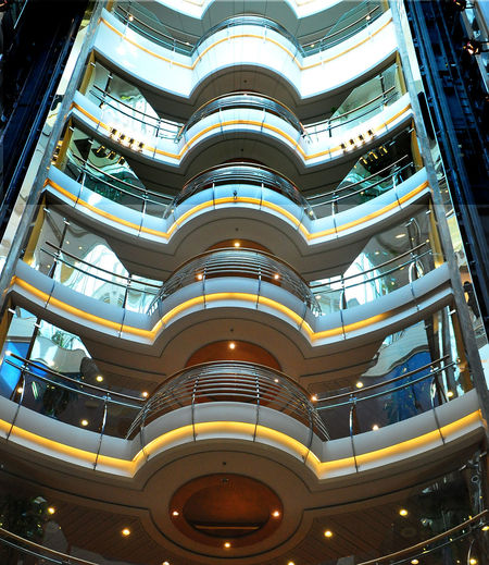 Atrium Architectural Feature Architecture Building Exterior Built Structure City Cruiseship Day Design Indoors  Low Angle View Modern No People Ship Decks Travel Destinations