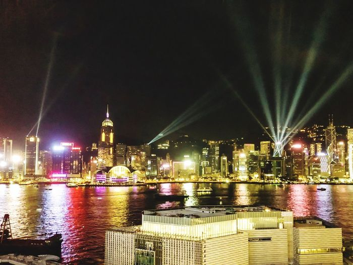 Harbor Nightphotography Hong Kong Night Built Structure Illuminated Building Exterior Architecture Water City Waterfront Sky Cityscape Light