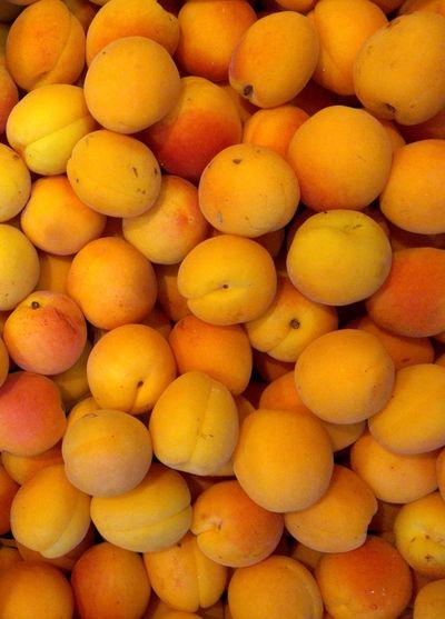 Apricots Full Frame Fruits Summer Market Food Orange Color France