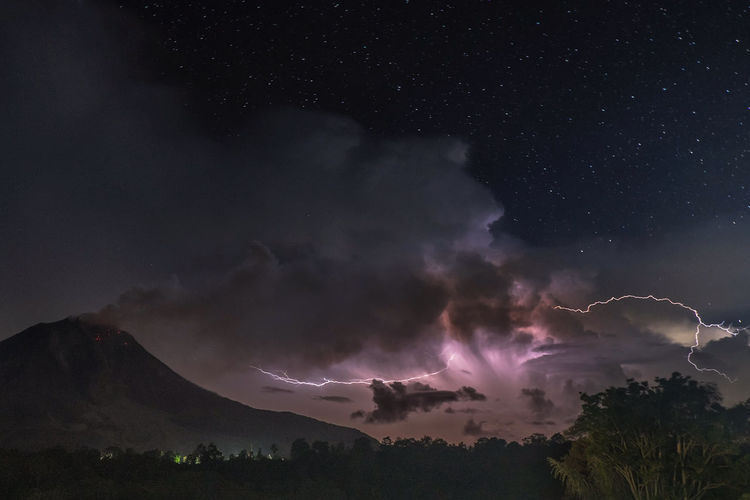 Sinabung volcano in North Sumatra, Indonesia. Beauty In Nature Cloud - Sky Environment Forked Lightning Illuminated Lightning Low Angle View Nature Night No People Outdoors Power Power In Nature Scenics - Nature Sky Star - Space Storm Thunderstorm Tranquil Scene Tranquility