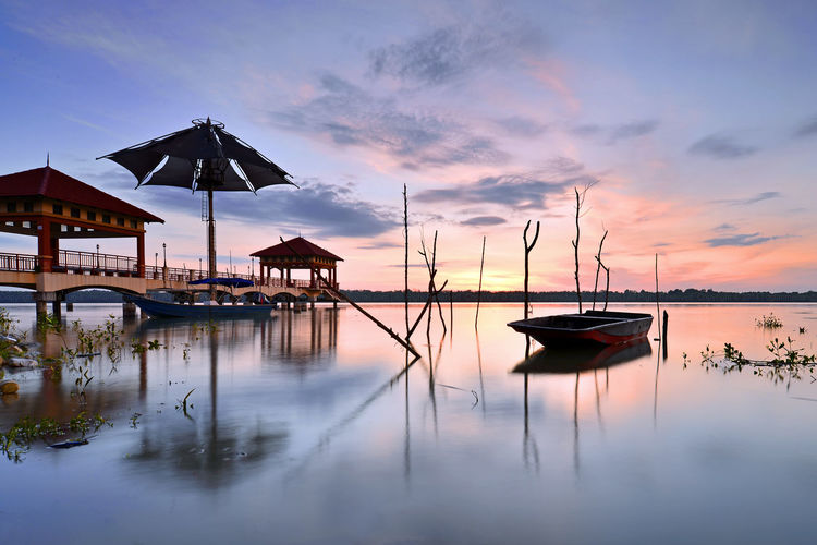 Jetty Leguna Park Pulau Indah Pelabuhan Klang Beauty In Nature Built Structure Cloud - Sky Fisherman Boat Jetty Mode Of Transportation Moored Nature Nautical Vessel No People Outdoors Reflection Sailboat Scenics - Nature Sea Sky Sunset Tranquil Scene Tranquility Transportation Water Waterfront