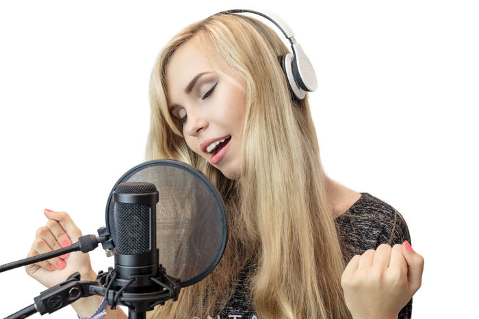 girl listens to music on headphones and sings Vocalist Isolated White Background Beautiful Earphones Emotions Happy Headphones Music Romantic Sing Sound Studio Young Attractive Cute Expression Girl Harmony Headset Listen Melody Portrait Pretty Song Studying Radio DJ Club Dj Karaoke Radio Station