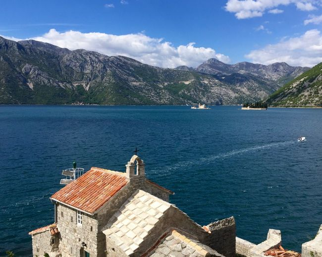 Architecture Beauty In Nature Blu Color Blu Water Blue Sky Built Structure Cherch Mountain No People Sea Water Kotor Bay The Great Outdoors - 2017 EyeEm Awards Premium Collection EyeEm Premium Collection