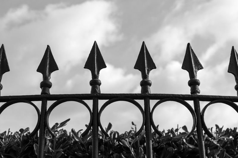 EyeEm Best Shots EyeEm Eye4photography  EyeEm Best Pics Bnw Blackandwhite Black And White Black & White Blackandwhite Photography Monochrome Cloud - Sky Sky Low Angle View Boundary Protection Focus On Foreground Security Barrier Metal Outdoors Safety Pattern Close-up Fence Architecture