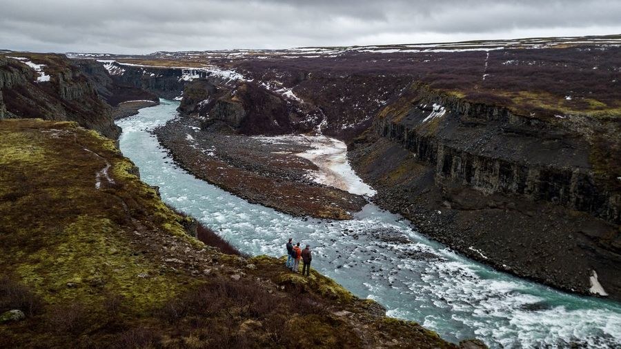 Gullfoss Iceland Water Nature Real People Lifestyles Beauty In Nature Day Sky High Angle View Cloud - Sky Scenics - Nature Non-urban Scene Outdoors Land