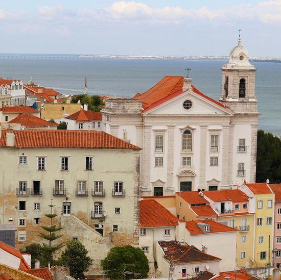 High angel view of buildings in town against sky