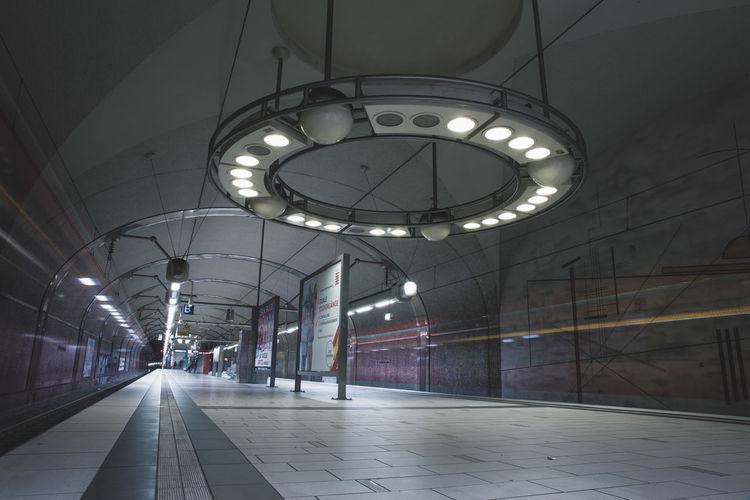 Illuminated lights at railroad station