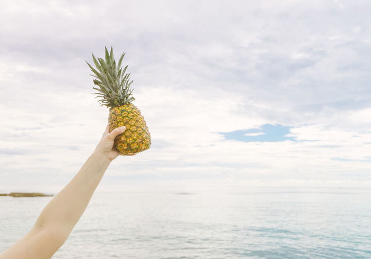 Girl holding up a golden pineapple in her hand in front of the ocean while on vacation in Mexico. Female Food Fruit Girl Golden Good Vibes Hospitality Island Ocean Person Pineapple Pineapples Rock Sky And Clouds Summer Summer Vibes Summertime Tropical Tropical Fruit Vacation Water Welcome Woman