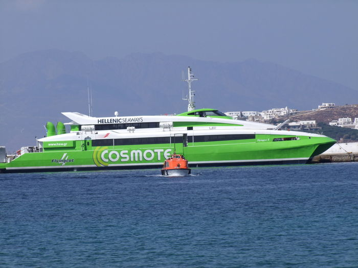 Flying Cat Hydrofoyle & Pilot Boat Blue Sky Boat Calm Composition Full Frame Greece Green And White Hydrofoyle Mode Of Transport Motorboat Mountain Mykonos Nautical Vessel No People Outdoor Photography Ripples In The Water Ship Sunlight Tourism Tourist Attraction  Tranquility Water Search