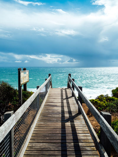 Cape Schanck, Victoria, Australia Australia Australian Landscape Beauty In Nature Cape Schanck Clouds Clouds And Sky Cloudy Day Dramatic Sky Leading Lines Melbourne Nowhere Outdoors Railing Sea Seaside Sky Travel Destinations Travel Photography Water