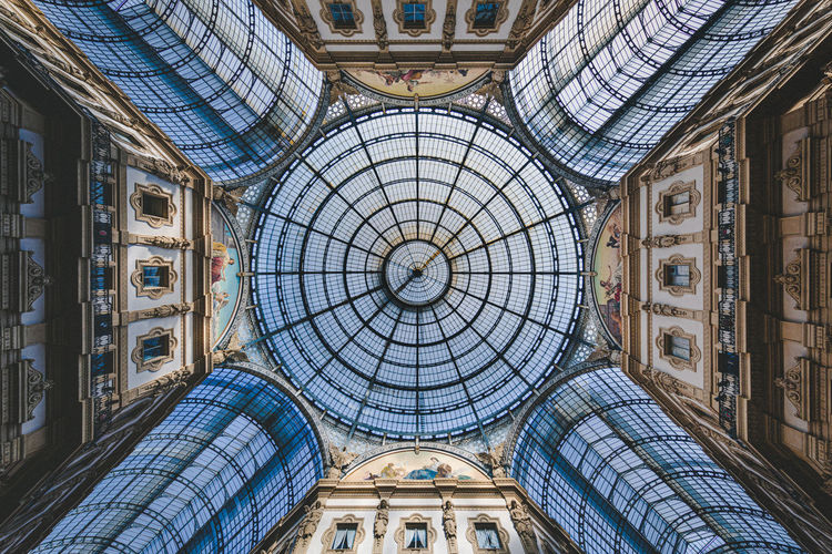 Low angle view of ceiling of historical building in milan