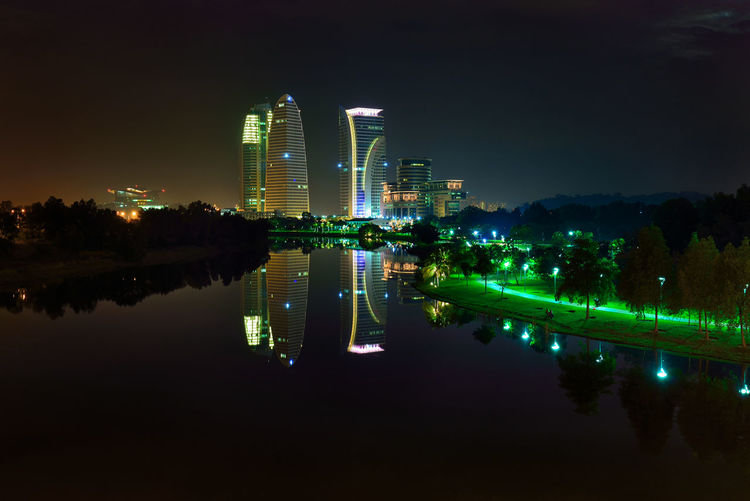 Nightscape Light And Shadow Lake View Malaysia Truly Asia Lake City Cityscape Water Illuminated Skyscraper Modern Urban Skyline Reflection Architecture Sky Office Building