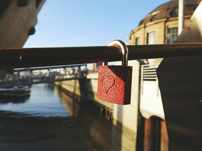 My love ♥Red Railing Padlock Close-up Love Lock Outdoors Bridge - Man Made Structure Nature City Architecture_collection Urban Hamburg Taking Photos City Life Germany Sight Architecture Cityscapes Reflection Protection Water Lock No People Day Sky