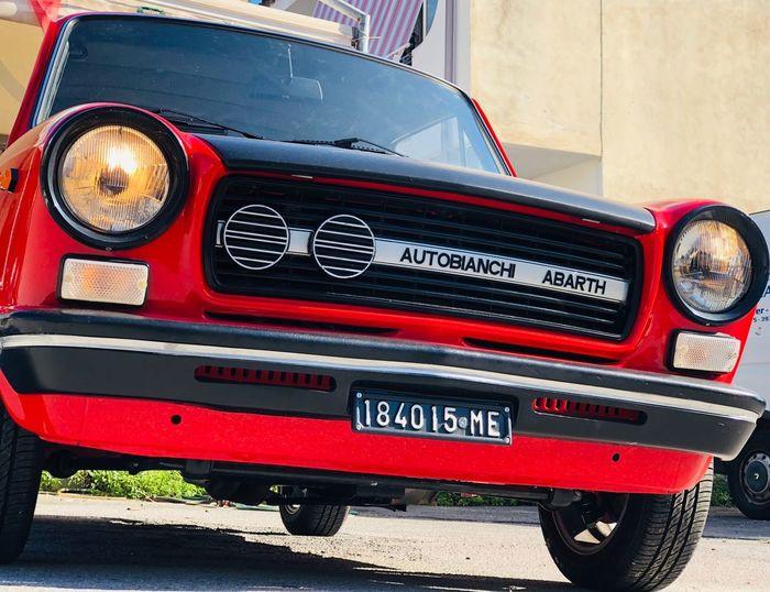112 Abarth Autobianchi Retro Styled Red Headlight Motor Vehicle Antique