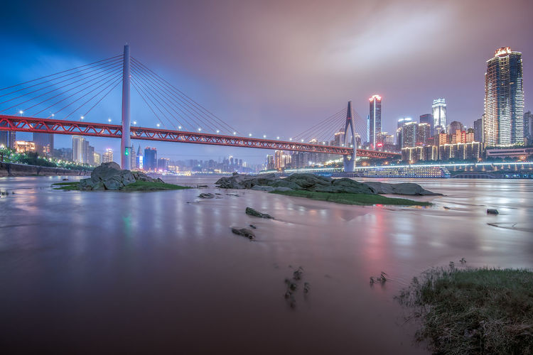 Chongqing City Built Structure Architecture Bridge Bridge - Man Made Structure Water Connection Sky Transportation City Building Exterior River Engineering Nature Travel Destinations Suspension Bridge Travel Waterfront Skyscraper Outdoors Office Building Exterior Cityscape Bay