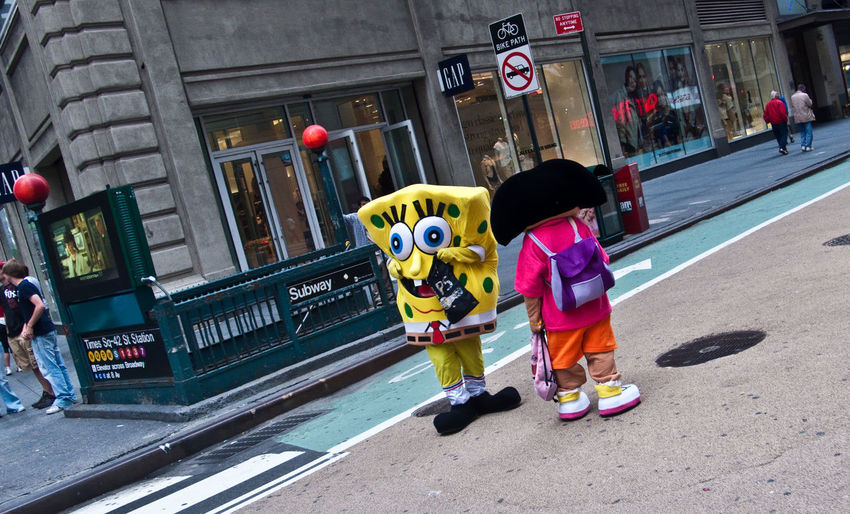 City Street Real People Outdoors People Road Day Spongebob Costume The Art Of Street Photography