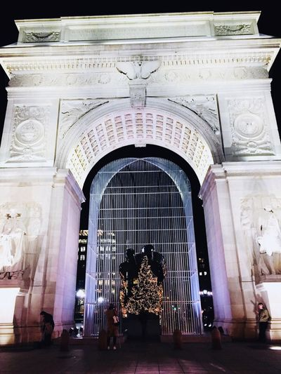 Washington Square Arch #night #ny #christmastree #photography Travel Destinations Rear View Two People Men Statue
