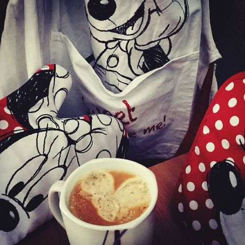 I Like My Coffee Time ☕️[ Mickey Mouse Minimouse Red White Photooftheday Photography In Motion Fun Home Chilling Coffee ]