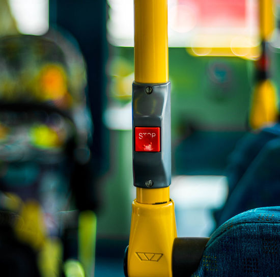 Black Color Bus Buttons Close-up Detail Focus On Foreground Illuminated No People Part Of Selective Focus Trasport Yellow