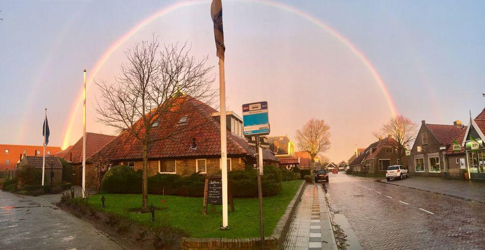 Rainbow over Terschelling Bus Stop Dutch Island Dutch Skies Dutch Landscape Island EyeEm Selects Rainbow Bare Tree Sky Road Built Structure Architecture