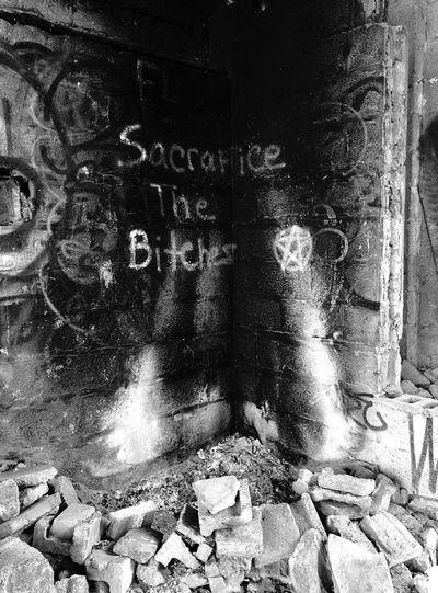 Abandoned Buildings Fire Pit Brick Wall Graffiti Sacrifice Bitches