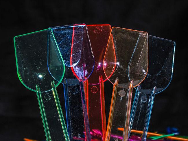 Stilleben Macro Macro Studio-shot Acryl Objects Black Background Close-up Focusstacking Ice Cream Icecream Spoons Illuminated Plastic Spoons