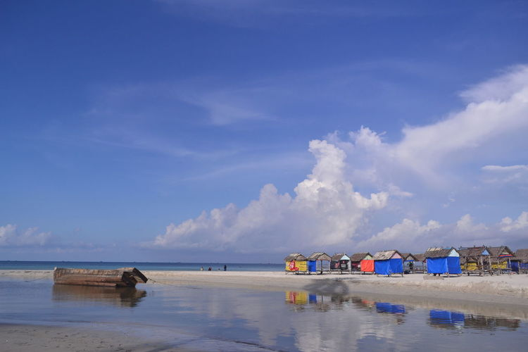 Water Sea Nautical Vessel Beach Low Tide Blue Sand Summer Reflection Relaxation