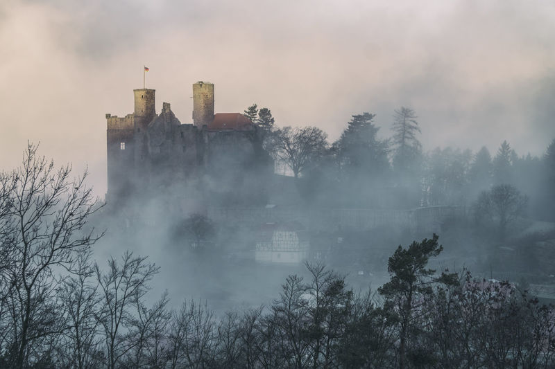Foggy morning and a castle ruin