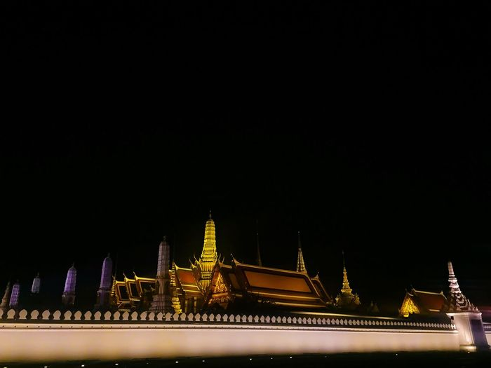 The atmosphere of Nighttime of the Emerald Buddha Temple in Thailand after the King Bhumibol Adulyadej cremation ceremony is surrounded without people