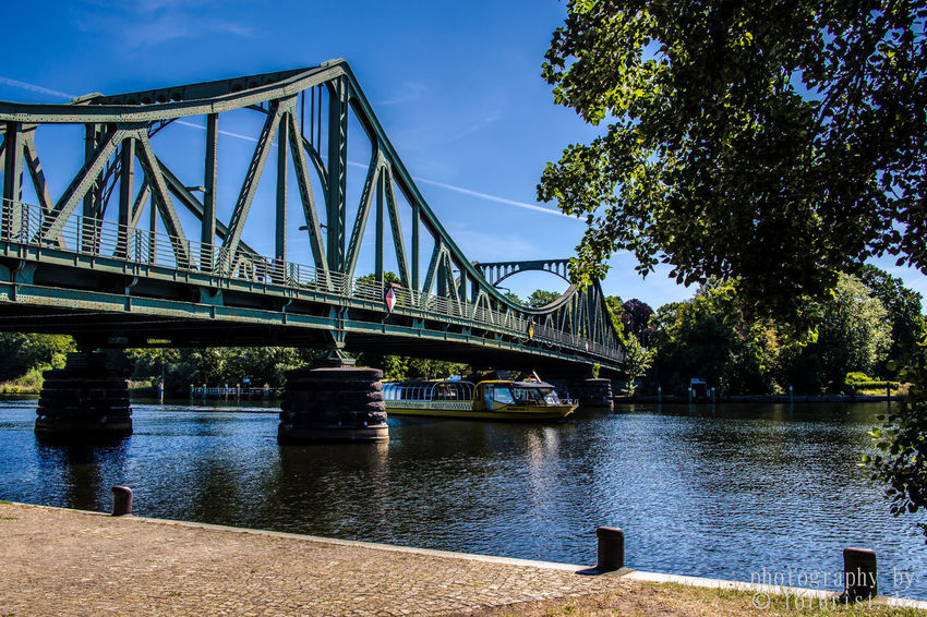 Architecture Berlin Bridge Bridge - Man Made Structure Bridgeofspies Built Structure Chain Bridge City Connection Day Engineering Glienicker Brücke Low Angle View Nature No People Outdoors Potsdam River Sky Suspension Bridge Transportation Travel Travel Destinations Tree Water