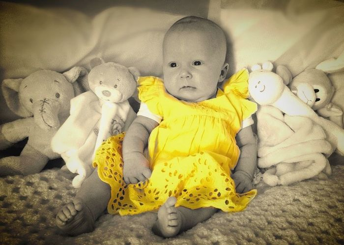 Photography B&W Portrait Portraits Portraiture; B/W Photography Photography Babygirl Babyphotography Babyphotos Yellowdress Colour Splash