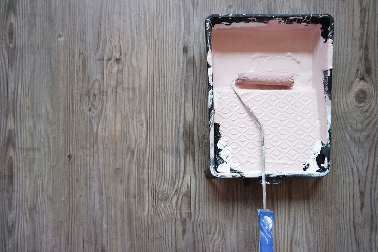 No People Wood - Material Indoors  Still Life Close-up Day Directly Above Copy Space Paint Paint Roller Pink Color Pink Paint Paint Tray Wood Background Texture Wooden Background Decoration Working