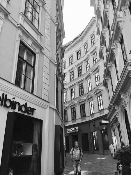 Architecture Built Structure City Street City Life Building Exterior Communication Window Ontheroad Ontheline Wien Österreich Lovelyplace Black And White Dreaming