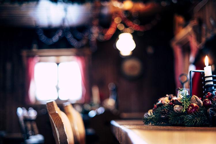 Close-up of illuminated christmas lights on table