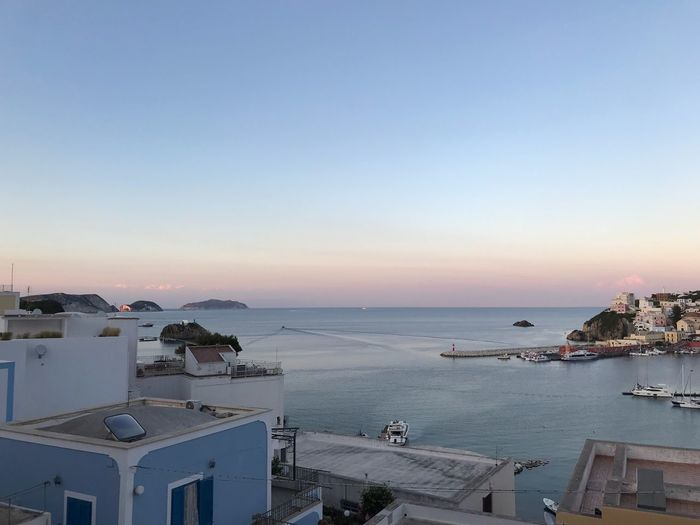 Ponza Harbour Water Sea Sky Beauty In Nature Architecture Nature Scenics - Nature Beach No People Built Structure Building Exterior Clear Sky Horizon Over Water High Angle View Horizon Copy Space Transportation Nautical Vessel Land Outdoors