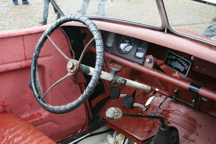 Close-up of an abandoned car