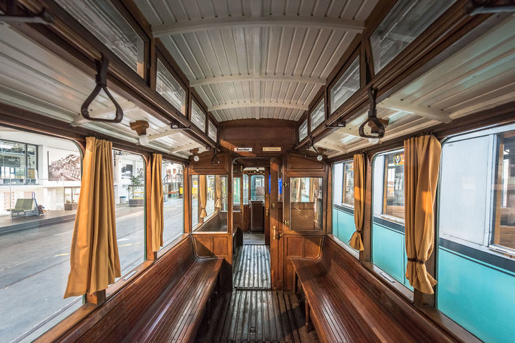 Interior of empty cable car in city
