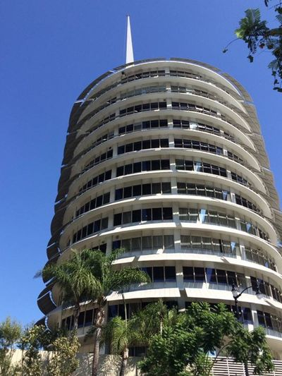 Hollywood Hollywood And Vine Capitol Records Building Round Architecture History Blue Sky Famous