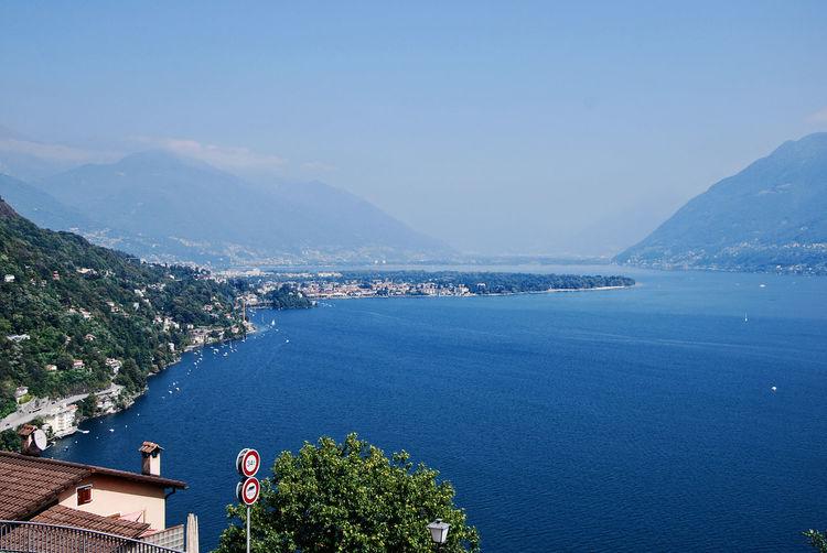Landscape of locarno and lake maggiore from ronco sopra ascona, canton ticino, switzerland.