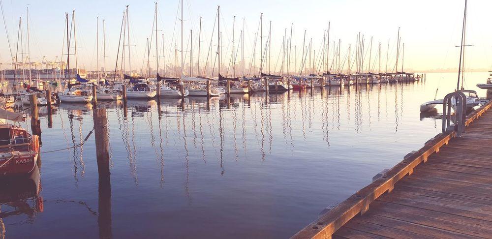 Sailboats Water Lake Moored Horizon Over Water Tranquil Scene