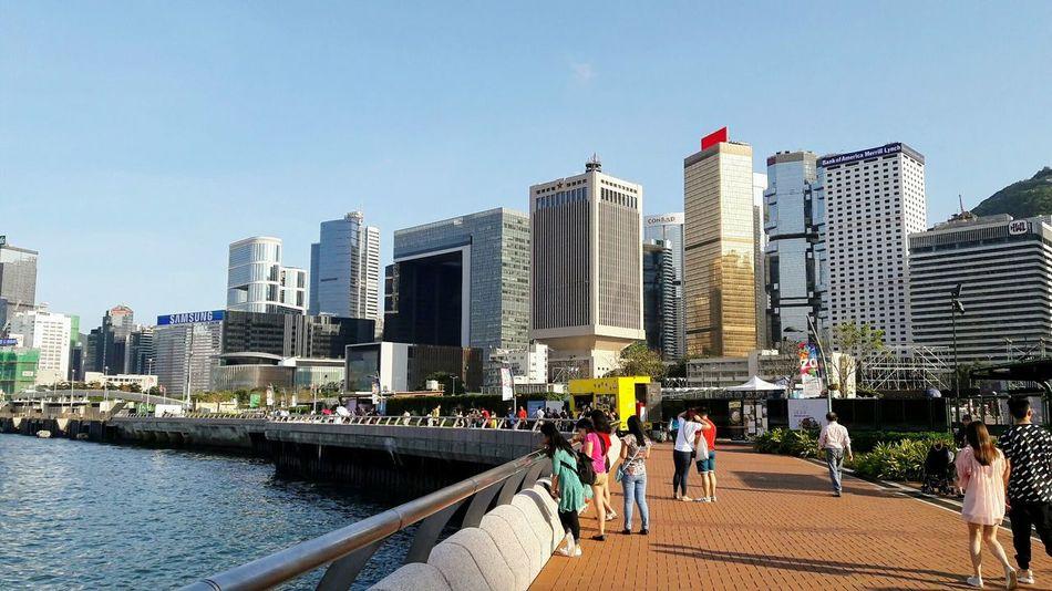 Urban Skyline Architecture Skyscraper Sky Sea Cityscape Outdoors People Hong Kong Island